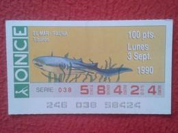 CUPÓN DE ONCE SPANISH LOTTERY CIEGOS SPAIN LOTERÍA ESPAÑA BLIND 1990 EL MAR THE SEA LA MER FAUNA FAUNE TIBURÓN SHARK VE - Billetes De Lotería