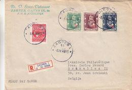 Yougoslavie - Lettre FDC Recom De 1948 °  - Oblit Zagreb - Exp Vers Bruxelles - Foire Internationale - 1945-1992 République Fédérative Populaire De Yougoslavie
