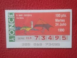 CUPÓN DE ONCE LOTTERY SPAIN LOTERÍA ESPAÑA EL MAR THE SEA LA MER 1990 DEPORTE SPORT ALA DELTA WING HANG GLIDING......VER - Billetes De Lotería