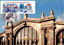 Carte Maximum 2011 - Paris, Façade De La Gare Du Nord. Lisa 65e Salon Philatélique D'automne - Maximum Cards