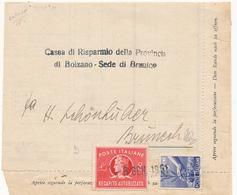 1951 DEMOCRATICA 6 LIRE + MISTA 8 LIRE RECAPITO AUTORIZZATO - 6. 1946-.. República