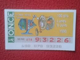 CUPÓN DE ONCE LOTTERY SPAIN LOTERÍA ESPAÑA EL MAR THE SEA LA MER 1990 DEPORTE SPORT CARRETES DE PESCA FISHING REEL REELS - Billetes De Lotería