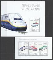 TG655 2013 TOGO TOGOLAISE TRANSPORT JAPANESE HIGH SPEED TRAINS GRANDE VITESSE KB+BL MNH - Treinen