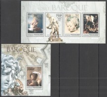 TG668 2013 TOGO TOGOLAISE ART PAINTINGS BAROQUE REMBRANDT RUBENS CARAVAGGIO HALS KB+BL MNH - Andere