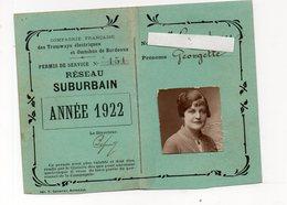 Bordeaux (33 Gironde) Permis De Service Pour Employés: TRAMWAYS-OMNIBUS  1922 (PPP21431) - Titres De Transport