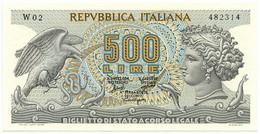 500 LIRE BIGLIETTO DI STATO TESTA DI ARETUSA SERIE SOSTITUTIVA 20/06/1966 SUP+ - Other