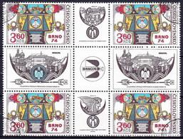 Tchécoslovaquie 1974 Mi 2184 Zf (Yv 2035 Avec Vignette), Obliteré - Used Stamps