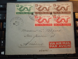 Enveloppe 5 Timbres VIET-NAM Par Avion  1952 HANG-KHONG BUU-CHINH - Vietnam
