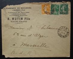 Beaune 1922 Côte D'or E. Mutin Fils Fabrique De Bouchons à Bormes, Paillons à Riom Et Dunières - Marcophilie (Lettres)