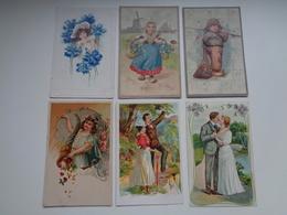 Beau Lot De 60 Cartes Postales De Fantaisie Gaufrées  Gaufrée       Mooi Lot Van 60 Postkaarten Van Fantasie Reliëf - Postcards