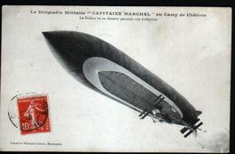 51, Le Dirigeable Militaire CAPITAINE MARECHAL Au Camp De Chalons, Le Ballon Est Vu De Dessous Pendant Son Evolution - Reuniones