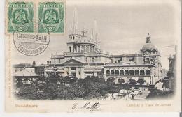 MEXIQUE - GUADALAJARA . CPA Voyagée En 1906 Catedral Y Plaza De Armas - Mexico