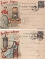 Lot De 2 Cartes J.Ristelhueber Paris / Réchaud à Pétrole Poëles Rubis Au Pétrole - Advertising