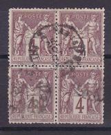 D105/  SAGE N° 88 BLOC DE 4 OBL COTE 30€ - 1876-1898 Sage (Type II)