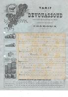 74.- CHAMONIX - DEVOUASSOUD  Fabricant De Sonnettes En Acier  Tarif - Straßenhandel Und Kleingewerbe