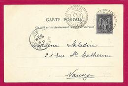Écrit Postal Daté De 1900 - Voyagé De Praye à Destination De Nancy Dans La Meurthe Et Moselle - Handstempels