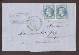CHARENTE Soubise GC 3445 Paire 20c Lauré + Cachet Perlé - Marcophilie (Lettres)