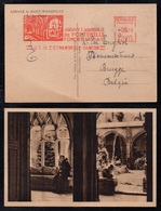 SAINT WANDRILLE / 1953 OBLITERATION MACHINE A  AFFRANCHIR ILLUSTREE SUR CP CORRESPONDANTE (ref LE3931) - Storia Postale