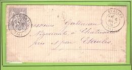 CHARENTE SAGE Type I Gris Lettre D' Etaules → Chatresac 1876 - Marcophilie (Lettres)
