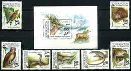 Uzbekistan 2015. Surcharge. Fauna Of Uzbekistan. Birds.  Deer. Reptiles. Reptiles. MNH - Sellos