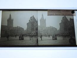 TRIER - TREVES - GRAND PLACE 1885 - STEREOTYPE SUR VERRE - POSITIF DE 8,5/17cm - Diapositiva Su Vetro