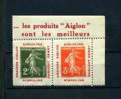 Semeuse 278 Et 278A Sur Porte Timbre AIGLON N° 1008 Yvert (livret De L'expert 2010) - 1906-38 Semeuse Camée