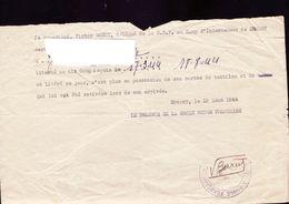 Liberation Du Camp D'internement De Drancy,croix Rouge,1944 - Documenten