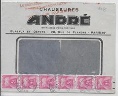 """1955 - EMA """"MANQUEE"""" (VALEUR ILLISIBLE) => TAXE  Sur ENVELOPPE De PARIS => LE THILLOT (VOSGES) - Marcophilie (Lettres)"""