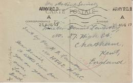 Oblitération Army PO 2 1917 En Franchise Pour L'Angleterre Sur CPA Rouen - Marcophilie (Lettres)