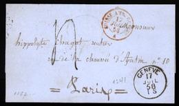 SWITZERLAND. 1858. Geneve. EL. Charges. Great Appeal! XF. - Switzerland