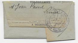 """1914 - TELEGRAMME Avec RARE CENSURE De La POLICE SURETE GENERALE De LUNEL (HERAULT) - MESSAGE : """"SUIS MOBILISE......"""" - Marcophilie (Lettres)"""