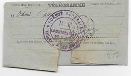 1914 - TELEGRAMME Avec RARE CENSURE SUP De La POLICE SURETE GENERALE De LUNEL (HERAULT) - - Marcophilie (Lettres)