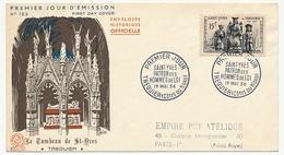Enveloppe FDC - Saint Yves, Patron Des Hommes De Loi - Treguier - 19 Mai 1956 - 1950-1959