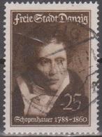 Deutschland: Danzig 1938 Arthur Schopenhauer (Gemälde V. Ruhl). 25 Pf Schwärzlichbraun, Mi 282 Gestempelt - Ecrivains