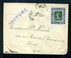 Semeuse 137 Sur Lettre Sur Porte Timbre PAUL AILLAUD N° 1010 Yvert (livret De L'expert 2010) - 1906-38 Semeuse Camée