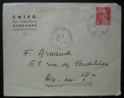 Gardanne 1948 (Bouches Du Rhône) E.M.T.P.G Rue Jules Ferry - Marcophilie (Lettres)