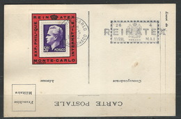 "MZ-/-097-   DOCUMENT DE L'EXPOSITION INTERNATIONALE 1952  ""REINATEX"" , - Monaco"