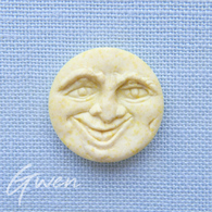 Feve Ancienne Prime Grosse Lune Jaune En Biscuit Mat Teintée Dans La Masse - Frühe Figuren