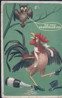 POSTAL PUBLICITARIA CALZADO - OH YOU CHANTECLER KID - DIBUJO BUHO Y GALLO CON BOTAS - Advertising