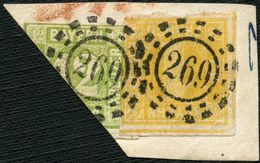 BAYERN 1862, Nr. 8I BOGENECKE DEKOR. AUF BRIEFSTÜCK, OMR 269 LANDSHUT, SEM 140,- - Bayern