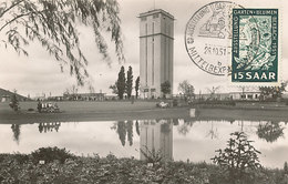 D38761 CARTE MAXIMUM CARD TRIPLE 1951 SAARGEBIET - TOWER AUSSTELLUNG MITTELBEXBACH FLOWERS AND GARDEN CP ORIGINAL - Architectuur