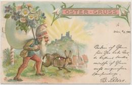 CARTE EN RELIEF - PRÄGEKARTE - Osterhase - Easter Bunny - Lapin De Pâques - Stempel Baden 1 N. Ö. Bestellt - Pâques