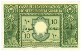 10 SOMALI CASSA PER LA CIRCOLAZIONE MONETARIA SOMALIA AFIS 1950 SUP - [ 6] Colonias