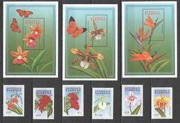 E1780 ANTIGUA & BARBUDA NATURE FLORA FLOWERS BUTTERFLIES !!! 3BL+1SET MNH - Orquideas