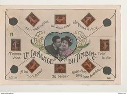 LE LANGAGE DU TIMBRE COUPLE DANS MEDAILLON CPA BON ETAT - Briefmarken (Abbildungen)