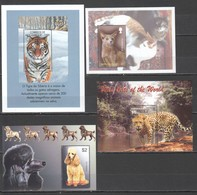 E1789 MIX MOZAMBIQUE GRENADA MONTSERRAT MICRONESIA ANIMALS DOGS CATS SIBERIAN TIGER 4BL MNH - Big Cats (cats Of Prey)
