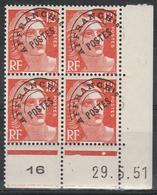 PREO. 103A** 12 F. ROUGE ORANGE MARIANNE GANDON - CD Du 29.5.51 - Coins Datés