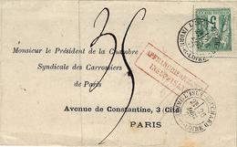 1877- Lettre De L'ISLE BOUCHARD  / INDRE ET LOIRE  Cad T18 Affr5 C Sage TAXE 35 C - SUPERBE - Marcophilie (Lettres)