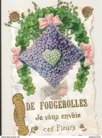 FOUGEROLLES JE VOUS ENVOIE CES FLEURS COLLAGE CHROMO CARTE GAUFREE BON ETAT - France