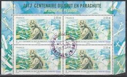 PA 76a 2.55€  ADOLPHE PEGOUD - PARACHUTE - BLOC De 4 Avec BORDS De FEUILLE - OBLIT. MANUELLE RONDE - 1960-.... Matasellados